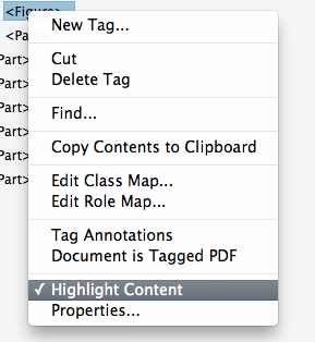 "Tags panel context menu showing ""Highlight content"" selected."